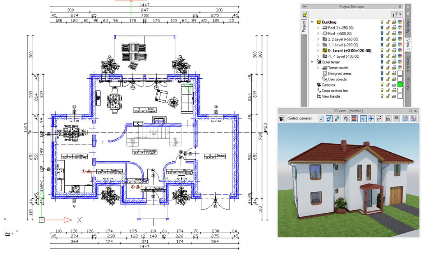 ArCADia BIM LT 12 - Grundrissansicht mit 3D Vorschaufenster sowie Projekt Manager