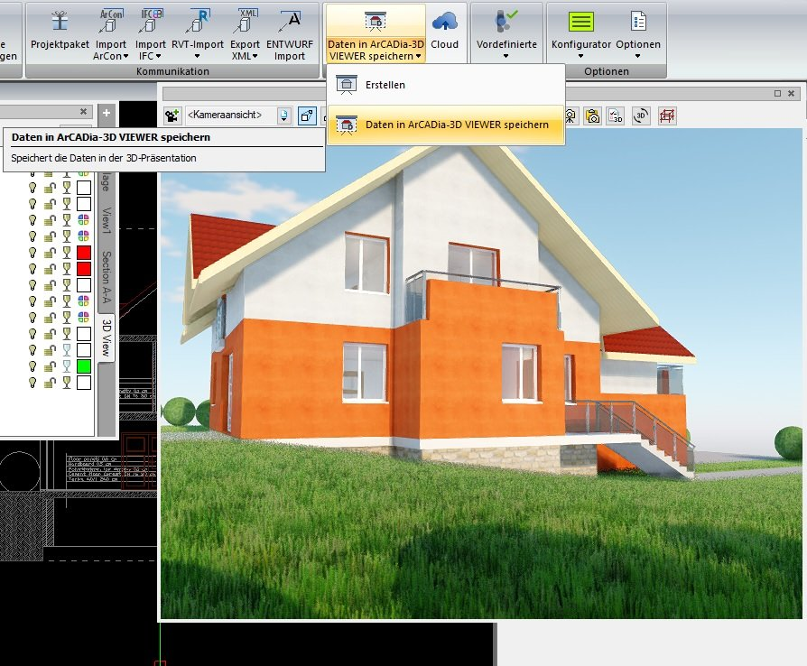3D Maker - Daten in ArCADia 3D Viewer speichern - ArCADia BIM CAD Software