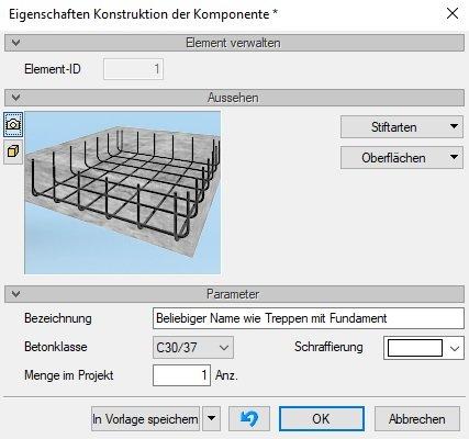 Bewehrung Stahlbetonbauteile Eigenschaften in ArCADia BIM Software