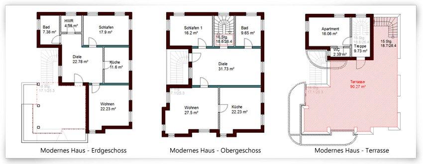 Grundrisszeichnung-Modernes-Haus-Erdgeschoss-Obergeschoss-Terrasse