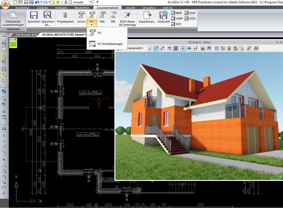 IFC und Revit Schnittstelle Version in ArCADia BIM 3D CAD Software