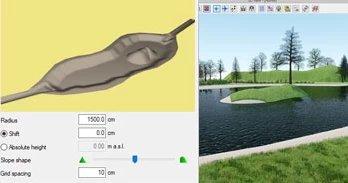 Planung von Stauseen bzw Wasserbehältern in ArCADia BIM Landschaftsarchitektur