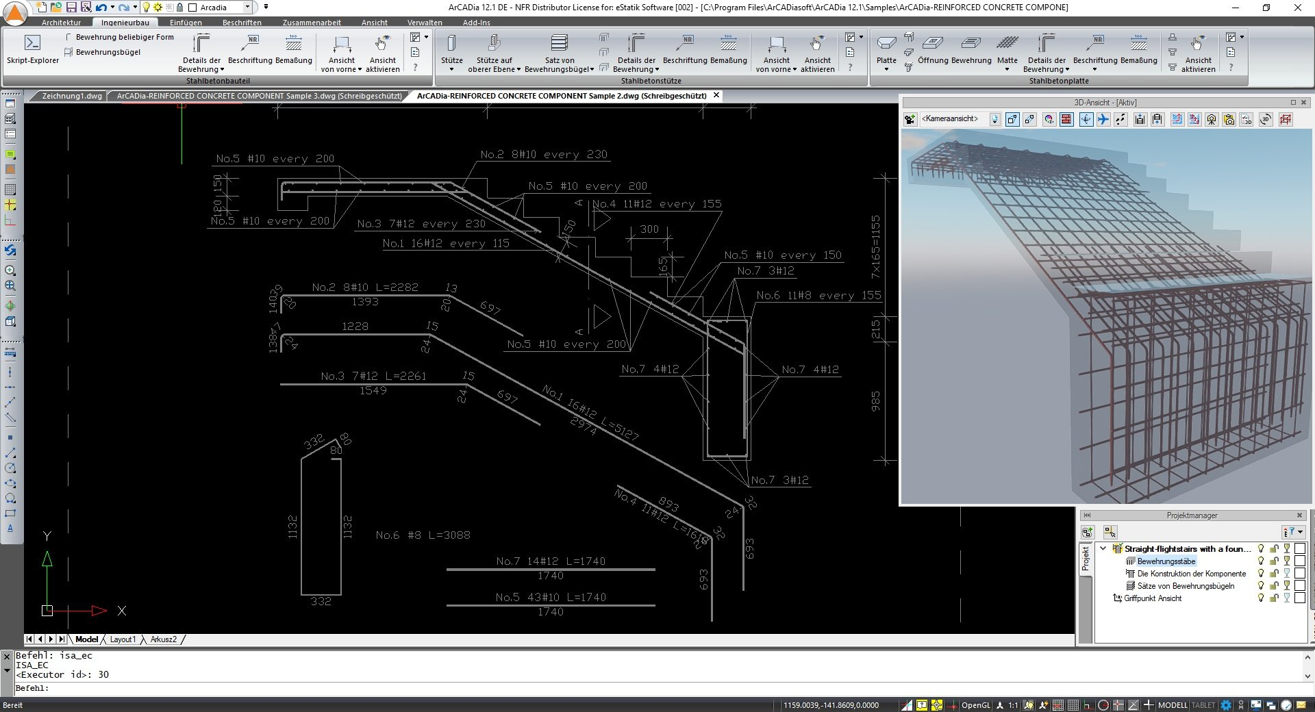 Stahlbetonbauteile konstruieren in ArCADia BIM Software Screenshot