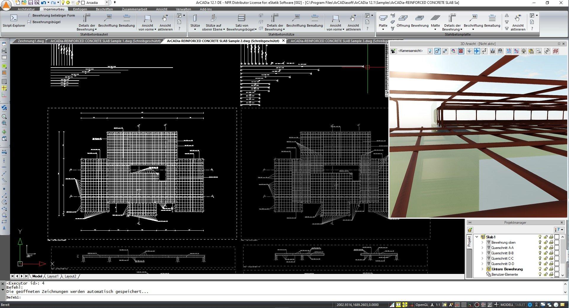 Stahlbetonplatten konstruieren Bewehrungskonstruktion ArCADia BIM Software Ingenierubau