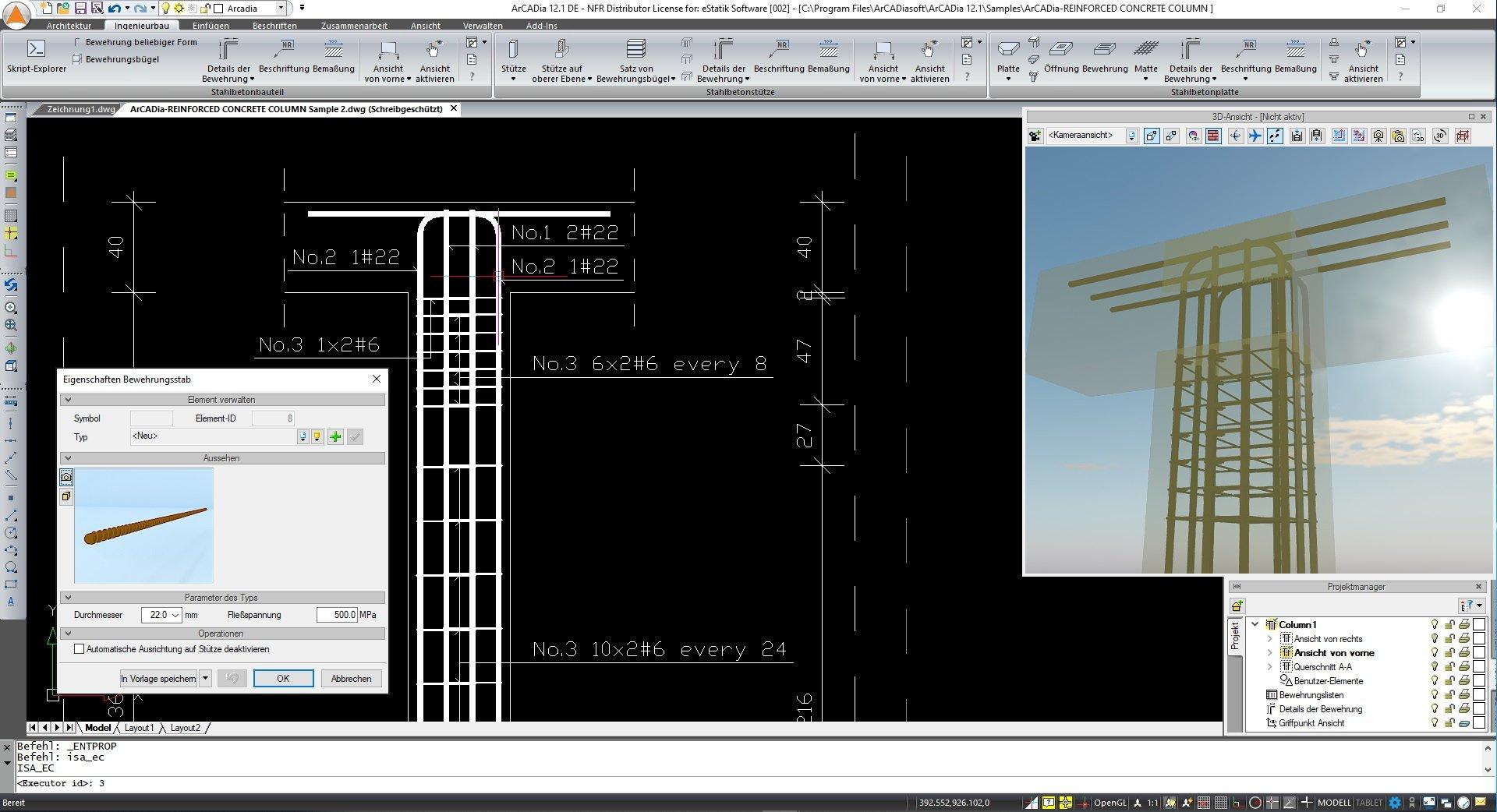 Stahlbetonstützen Bewehrungskonstruktion ArCADia BIM Software Ingenierbau