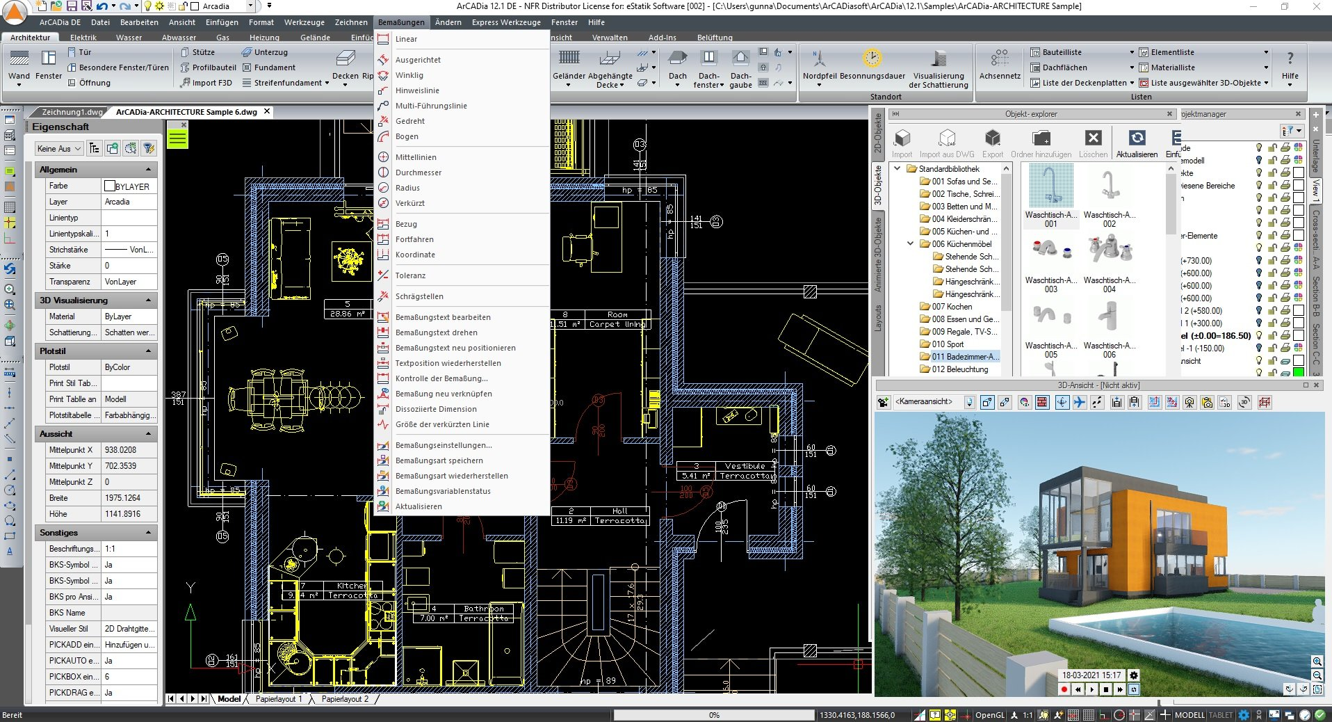 ArCADia BIM 3D Architektur Screenshot