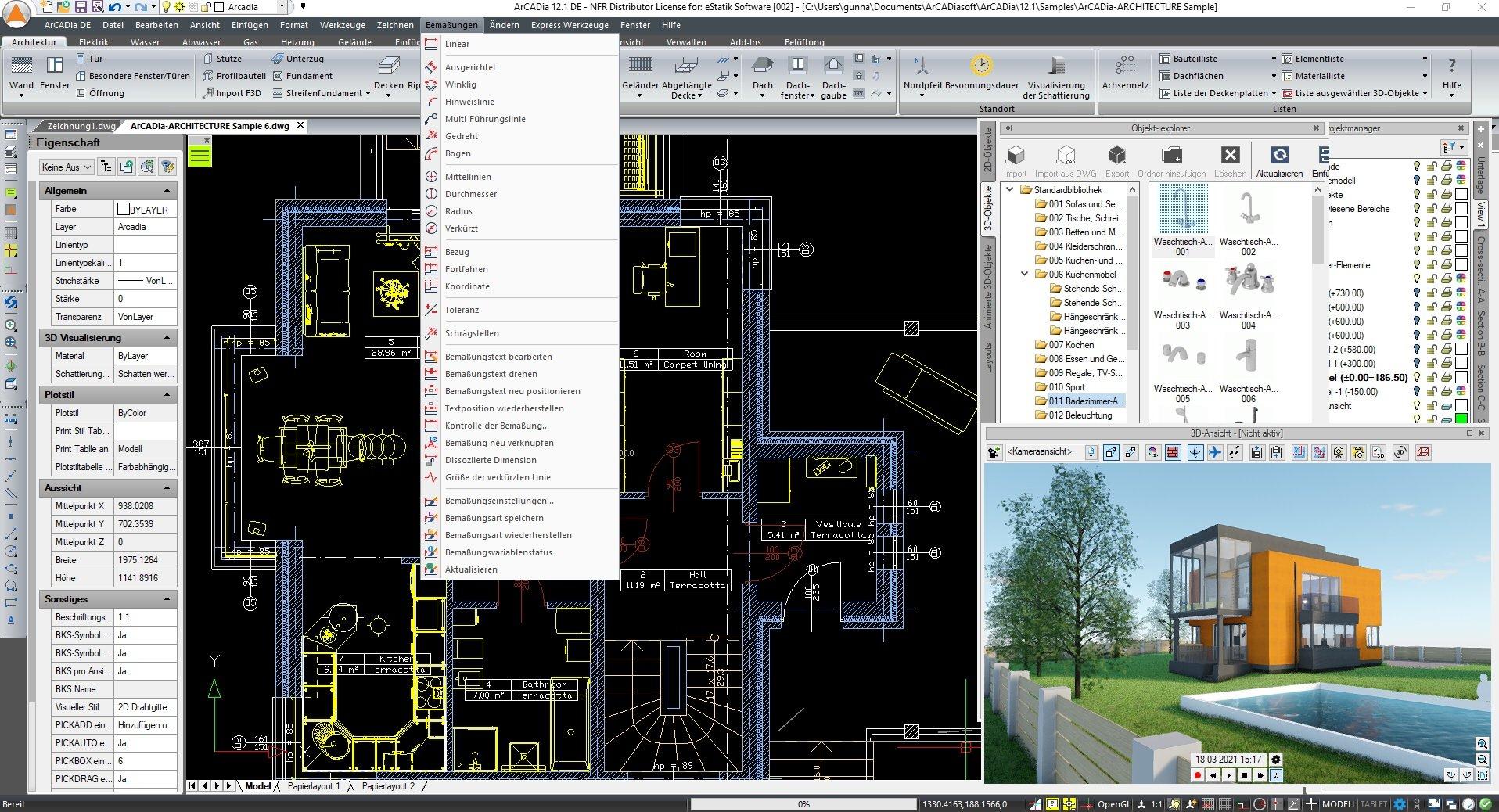 ArCADia BIM 3D Architektur Screenshot