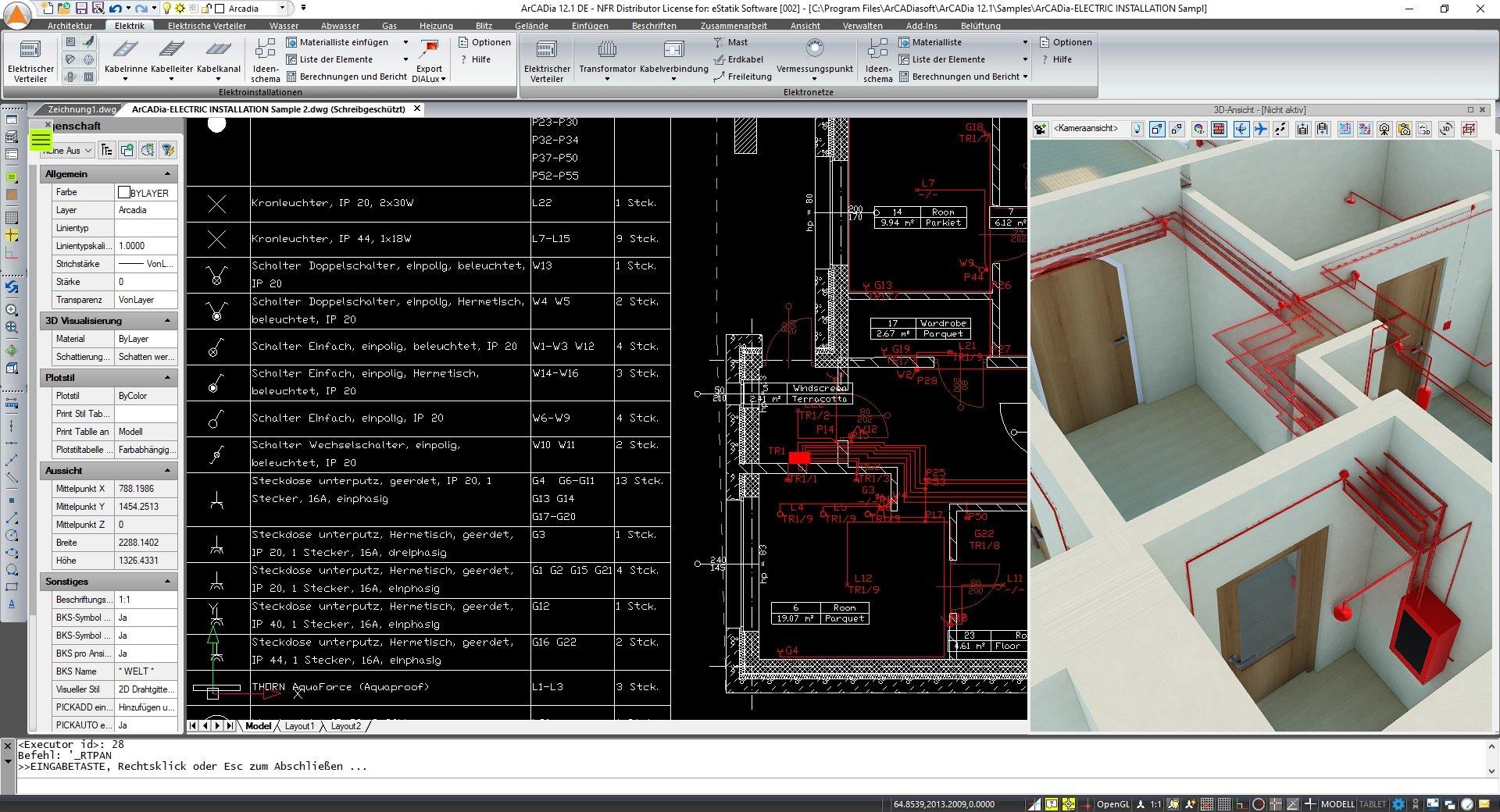 ArCADia BIM Elektroplanung Software - Elektroinstallationen Screenshot
