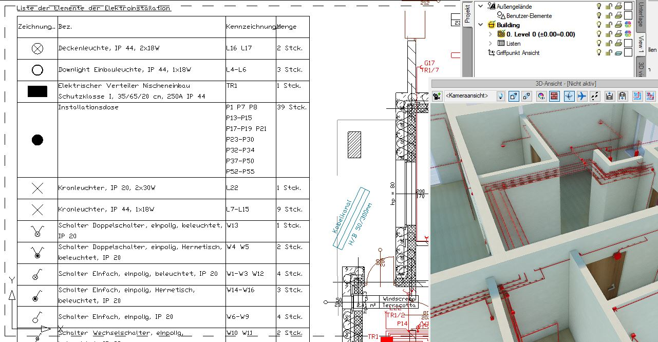 Elektroplanung Software Liste der Elemente ArCADia BIM