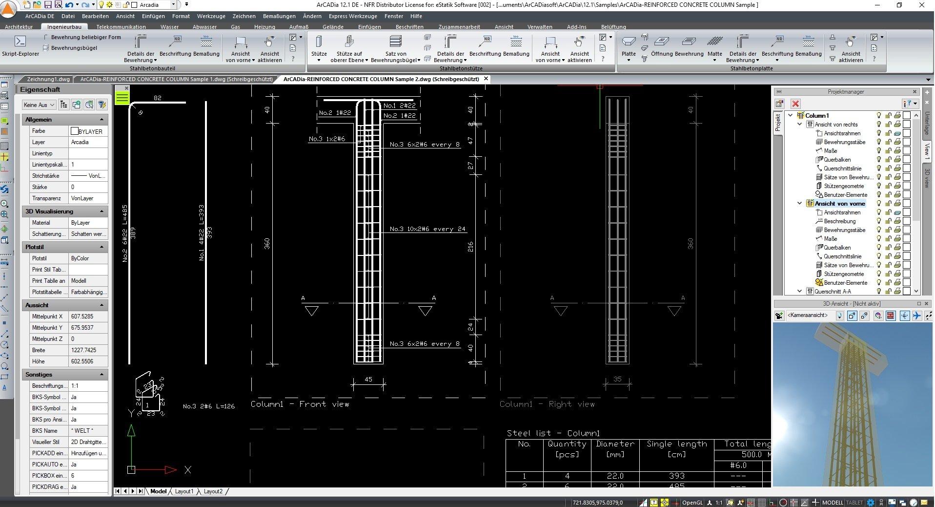 Ingenieurbau Stahlbetonstützen Programm ArCADia BIM Screenshot