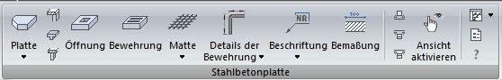 Ingenieurbau Stahlbetonplatten Software Programm ArCADia BIM Menüleiste