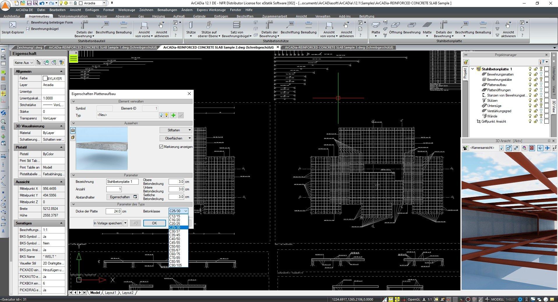 Ingenieurbau Stahlbetonplatten Software Programm ArCADia BIM Screenshot