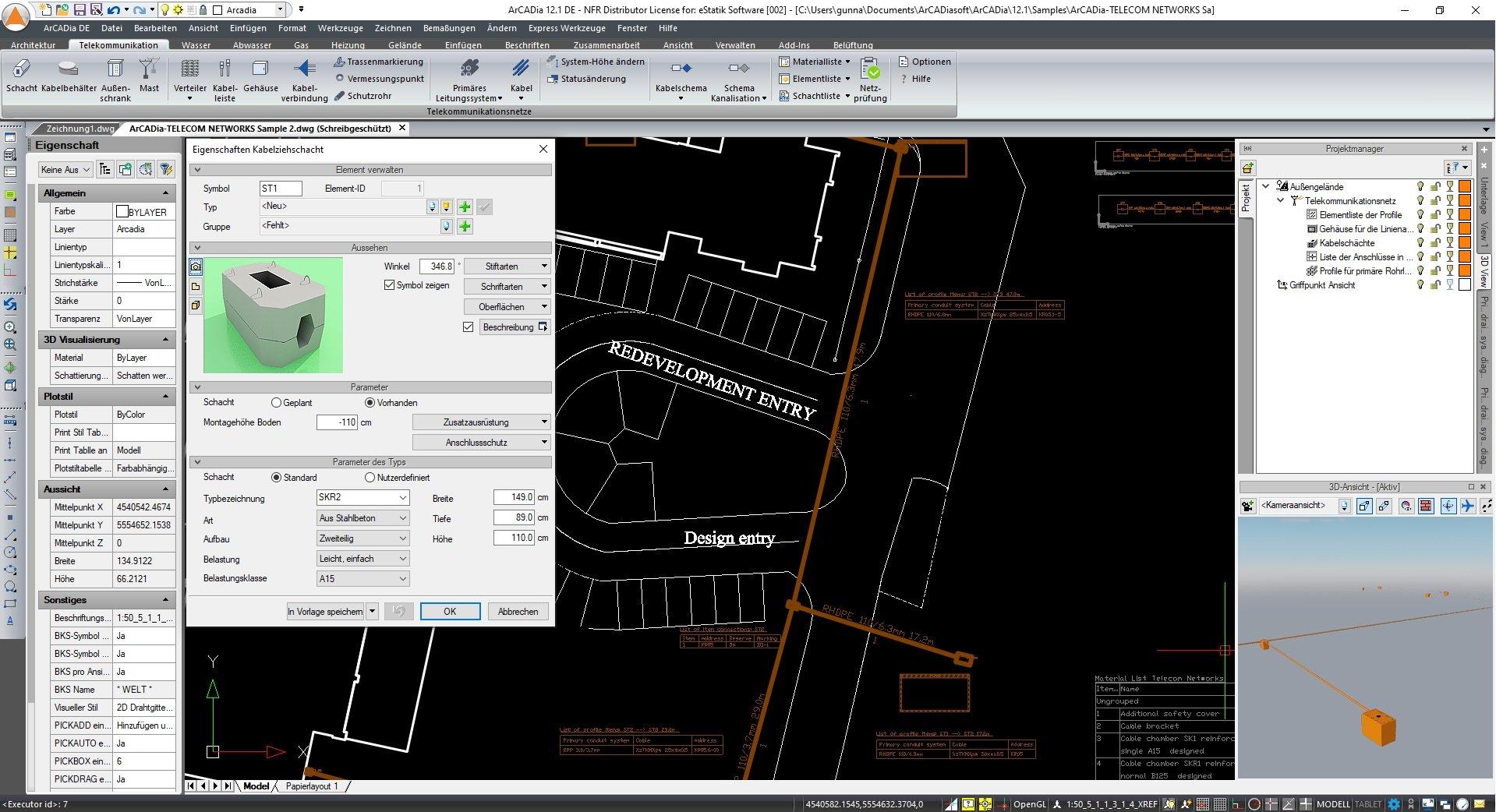 Telekommunikationsnetze planen und zeichnen Screenshot ArCADia BIM